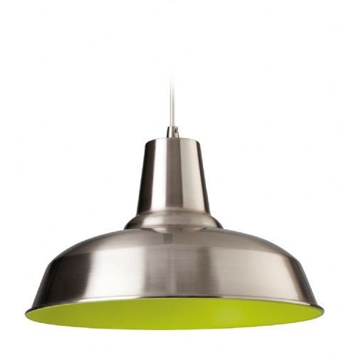 Firstlight 8623BSGN Brushed Steel with Green Inside Smart Pendant